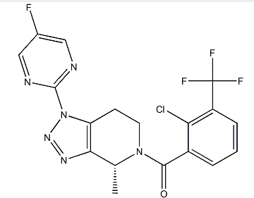 (r)-(2-chloro-3-(trifluoromethyl)phenyl)(1-(5-fluoropyrimidin-2-yl)-4-methyl-1,4,6,7-tetrahydro-5h-[1,2,3]triazolo[4,5-c]pyridin-5-yl)methanone