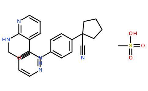 Apatinib; N-[4-(1-氰基环戊基)苯基]-2-[(4-吡啶甲基)氨基]-3-吡啶甲酰胺甲磺酸盐