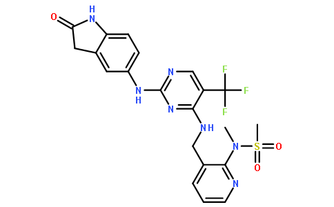 N-甲基-N-[3-[[[2-[(2-氧代-2,3-二氢-1H-吲哚-5-基)氨基]-5-三氟甲基嘧啶-4-基]氨基]甲基]吡啶-2-基]甲磺酰胺
